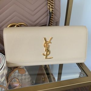 Saint Laurent Monogram Calfskin Clutch Bag, Cream